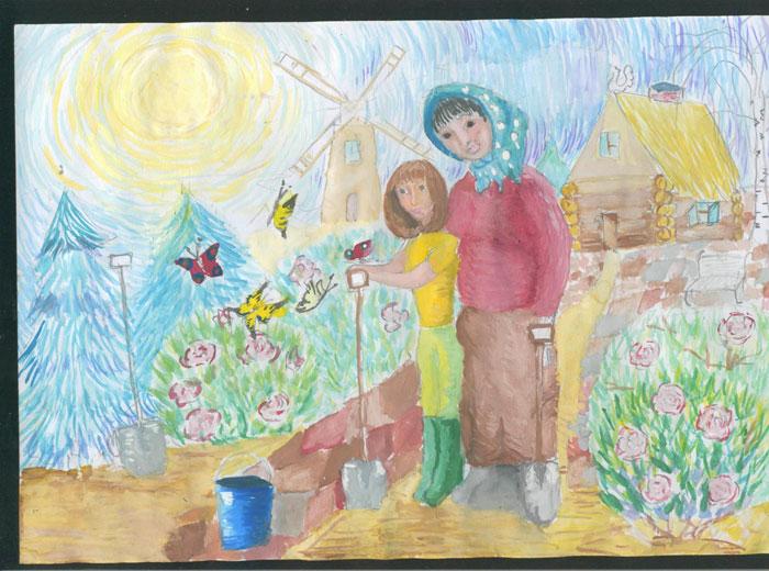 Рисунки ко дню пожилого человека детьми